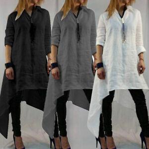 Plus-Size-Women-Casual-Tunic-Blouse-Long-Sleeve-Basic-Asymmetric-Mini-Dress-Tops