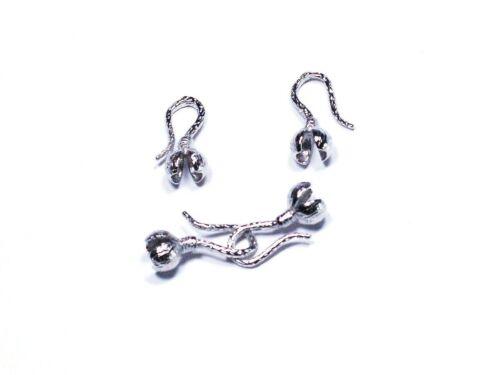 2,2 2 Stück #A07005 Klappkapseln Endkappen Kalotten Endhülsen Verbinder Silber