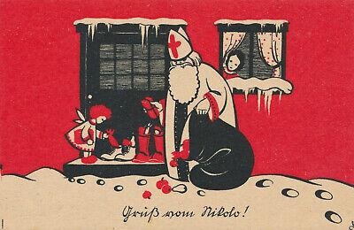 pk ak weihnachten christmas gru vom nikolo k nstlerkarte. Black Bedroom Furniture Sets. Home Design Ideas