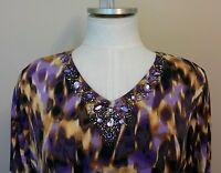 Susan Graver Liquid Knit Purple Gold Beaded Tunic Top Size Xl