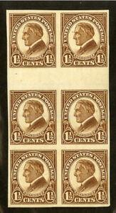 US-Stamps-631-1-1-2c-XF-OG-NH-Blocks-Of-6-Horizontal-Gutter-No-Gum-Breaker