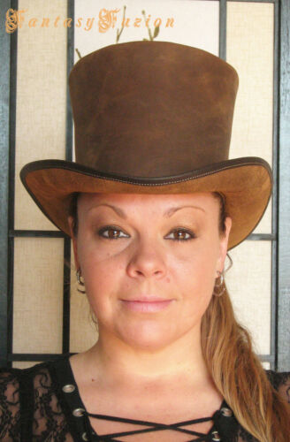 Steampunk Hat Victorian Leather Standard HIGH Top Hat no.2