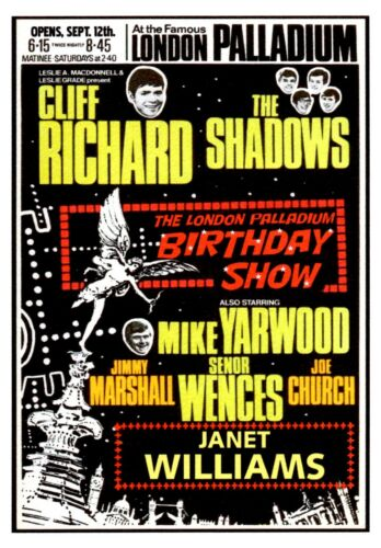Personalised Cliff Richard Shadows Concert Poster Birthday Card c//w envelope