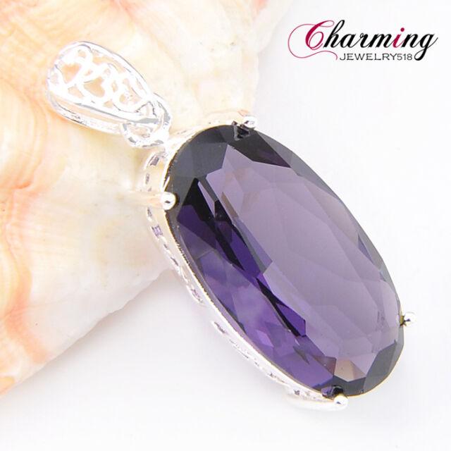 "Special Price Mystical Purple Amethyst Gemstone Silver Necklace Pendant 1 3/4"""