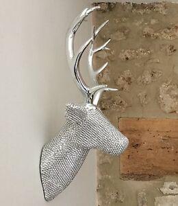 Plateado metal decoraci n de pared cabeza ciervo reno navidad bling busto ebay - Cabeza de ciervo decoracion ...