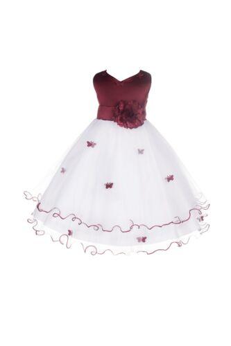 White Butterflies Flower girl dress Pageant Junior Dressy Communion Easter 801S1