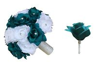 2pc Set:teal White Bridal Wedding Vows Renewal Prom Bouquet & Boutonniere