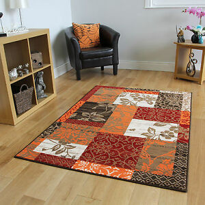 Image Is Loading New Warm Red Orange Modern Patchwork Rugs Small
