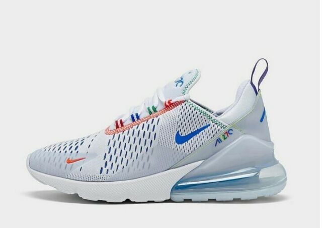 Nike Air Max 270 Colorful White Blue Casual Shoes Cz7947-100 Mens Size 8