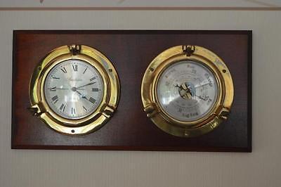 Aggressiv Maritime Wetterstation Uhr Und Barometer In Kirsche