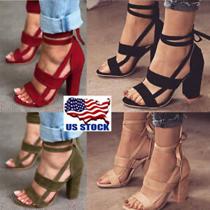 USA-Women-039-s-High-Block-Heel-Open-Peep-Toe-Lace-Up-Sandals-Dance-Party-Shoes-Size