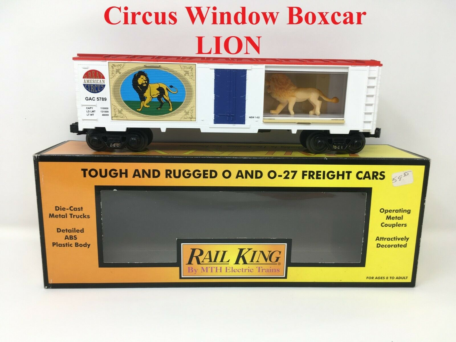 30-74059 Rail King MTH Great American Circus Opening Window Boxcar w  Lions NEW