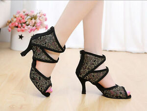 New Women's Latin dance shoes Adult female hot drilling soft outsole Salsa shoes