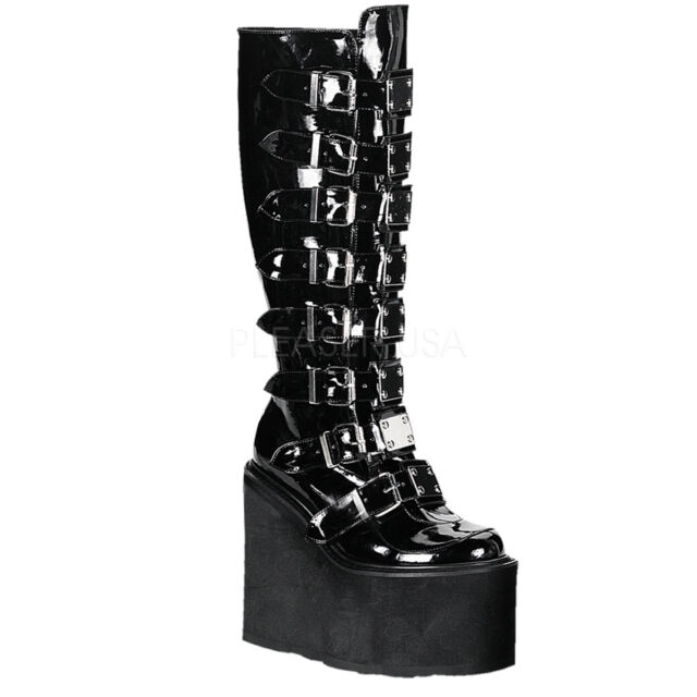 fb8c643e32c DEMONIA SWING-815 Womens Punk Gothic Buckle Strap Platform Knee High Boots  Shoes