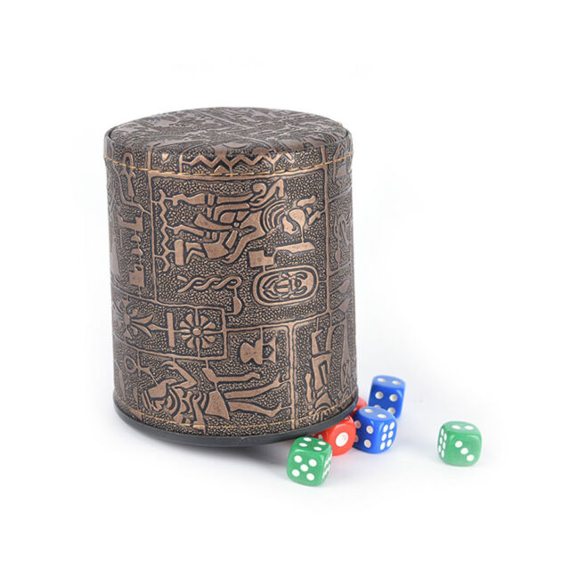 1 pc High Quality Brown Leather Rune Dice Cup PU leather 82x82x91mm PLV