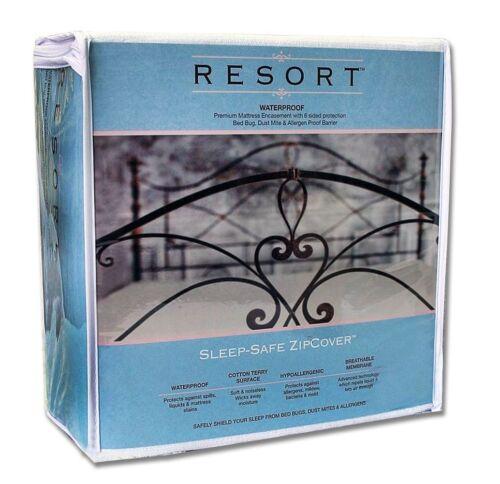 """Sleep-Safe Resort Waterproof Mattress Encasement Allergen Protector Full 15/"""""""