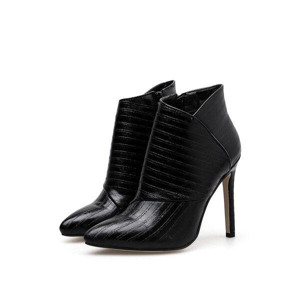 Stivali stivaletti  stiletto 11 cm black tronchetto eleganti simil pelle 1019
