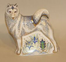 2007 Royal Crown Derby Imari Gold Stopper Paperweight White Husky Dog in Box
