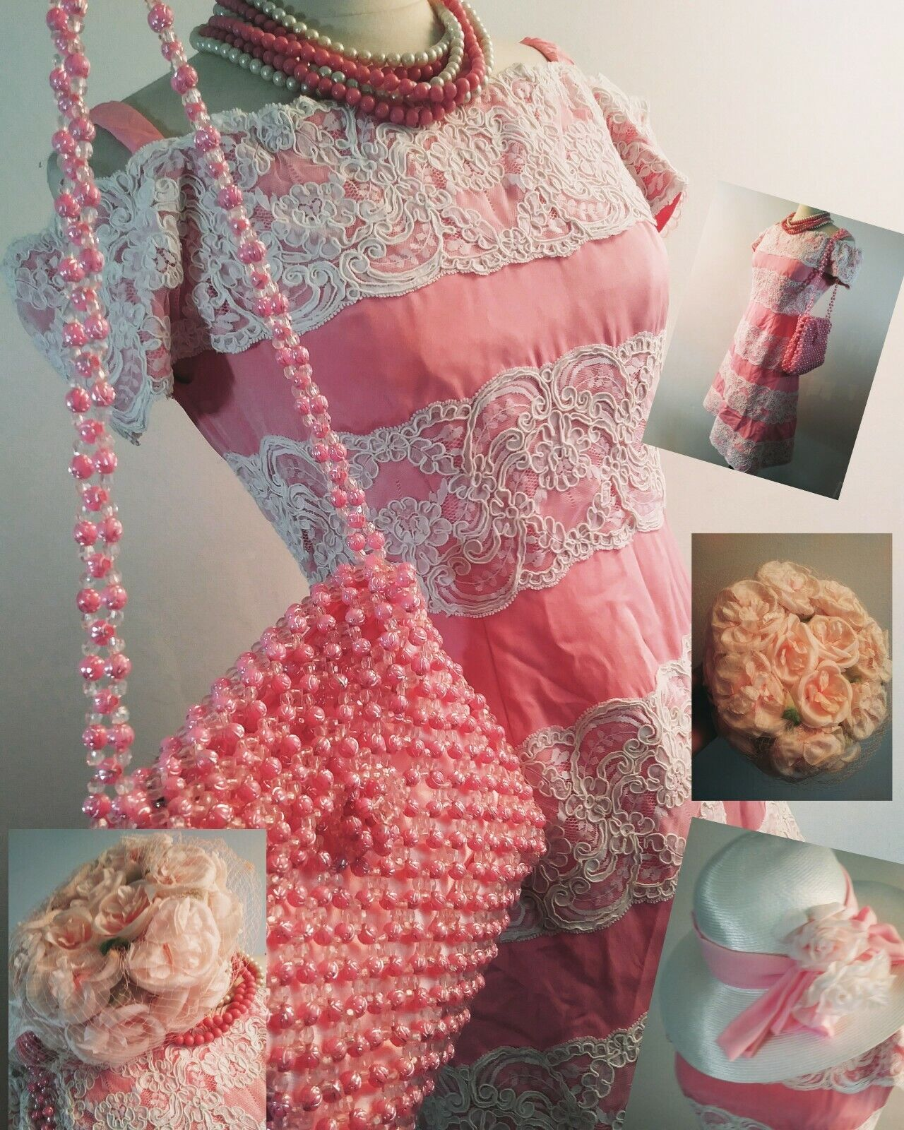 Vintage 80s  Scaasi Boutique Sax Fifth Ave Pink& … - image 2