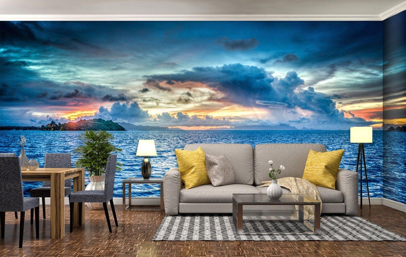 3D Meereswellen Himmel 7057 Tapete Wandgemälde Tapeten Bild Familie DE Lemon