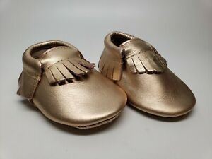 aef89fd46f338 Details about Baby Moccasins Infant Rose Gold Shoes Soft Leather Footwear  New
