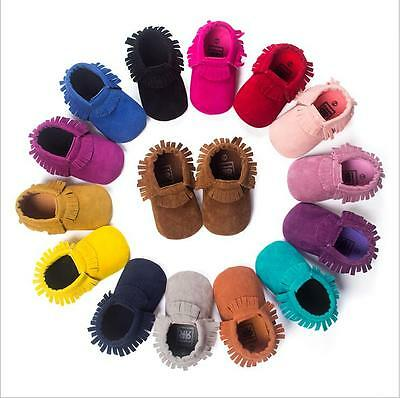 Shiny Baby Tassel Soft Sole Leather Shoes Infant Boy Girl Toddler Moccasin