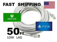 Xbox One & Ps4 - Unternet Extension Cable 50 Feet - - 50ft - - Low Lag -- White