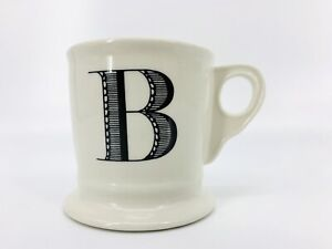 Anthropologie-B-Monogram-Coffee-Cup-Mug-Shaving-Letters-Black-White