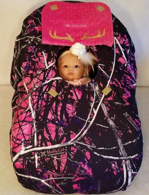 Muddy Girl Camo And Hot Pink Minky Infant Car Seat Cover Hood