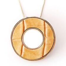 Neu 40cm+7cm HALSKETTE DONUT ANHÄNGER farbe orange/gold KROKOOPTIK KUNSTLEDER