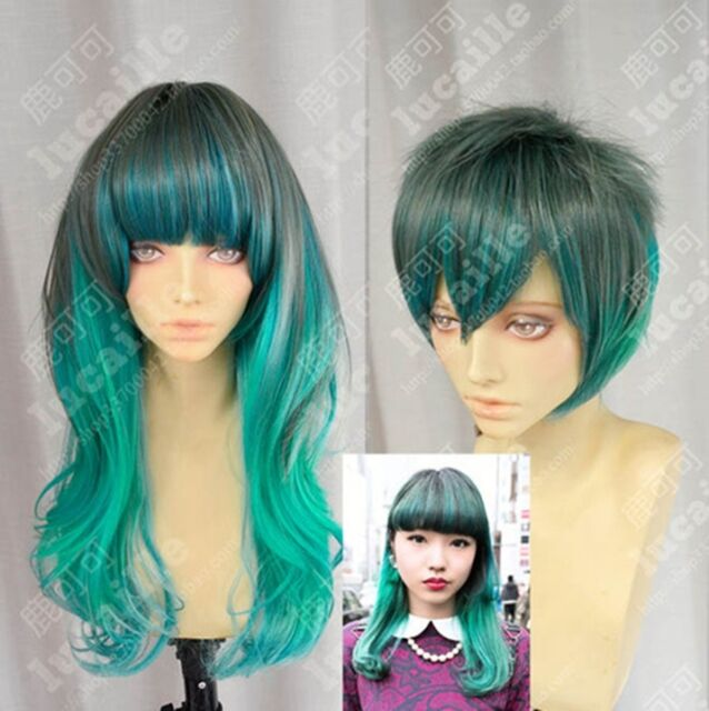 Harajuku 70cm Wavy Peacock Gradient Gothic Lolita Cosplay Party Wigs