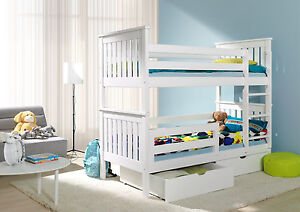 Bunk Beds White New 3ft Wooden Childrens Mattresses Storage Drawers