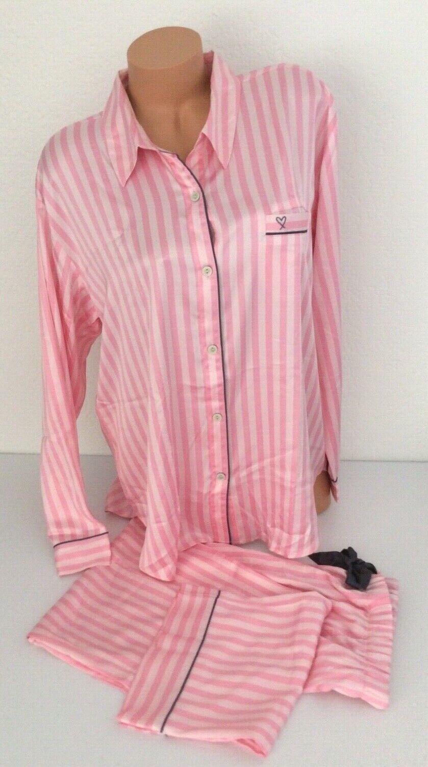 NEW  Victoria Secret Satin Afterhours Pajama PJ Pink Iconic Stripe NWT Set XL