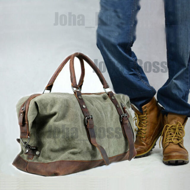Vintage Retro Men Genuine Leather canvas duffle weekend bag lightweight  luggage 063d0979896be