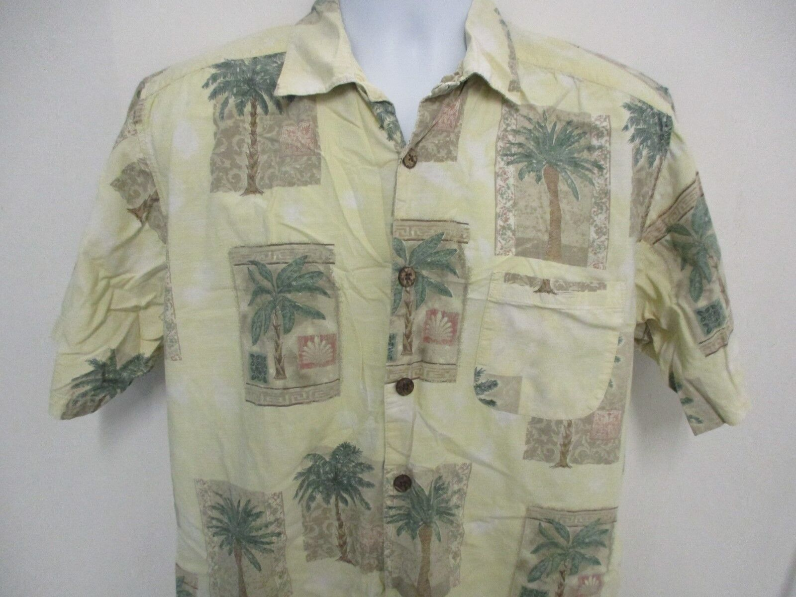 Joe Marlin Hawaiian Camp Style Shirt, S S, Extra Large, Yellow with Palm Trees
