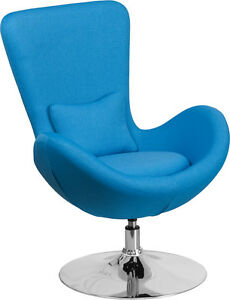 Image Is Loading Contemporary Design Aqua Fabric Egg Chair Series Reception