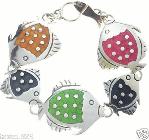 TAXCO-MEXICAN-STERLING-925-SILVER-MULTI-INLAY-FISH-BRACELET-MEXICO