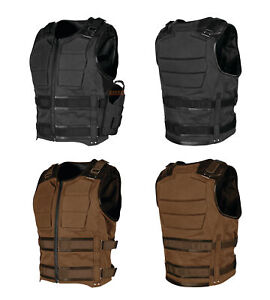 Speed-amp-Strength-Mens-True-Grit-Armored-Textile-Leather-Riding-Vest-with-Holster