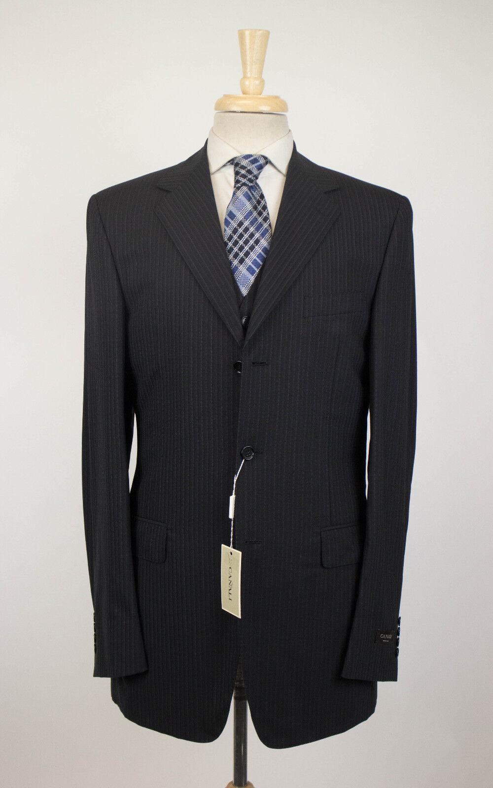 Nwt Canali Schwarz Gestreift Wolle 3 Knöpfe Anzug 3-teilig Größe 46 36 XL Drop   | Adoptieren  | Vielfalt  |