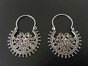 Genuine-925-Sterling-Silver-Hoop-Earrings-Tribal-Ethnic-Indian-Filigree-Pattern