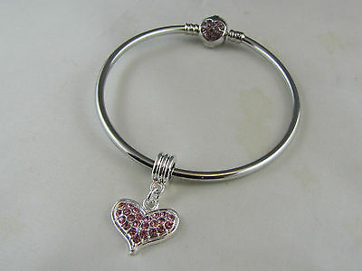 19 CM SP CRYSTAL BANGLE BRACELET W/ BALL CLASP & HEART DANGLE CHARM  #BCB 19-1