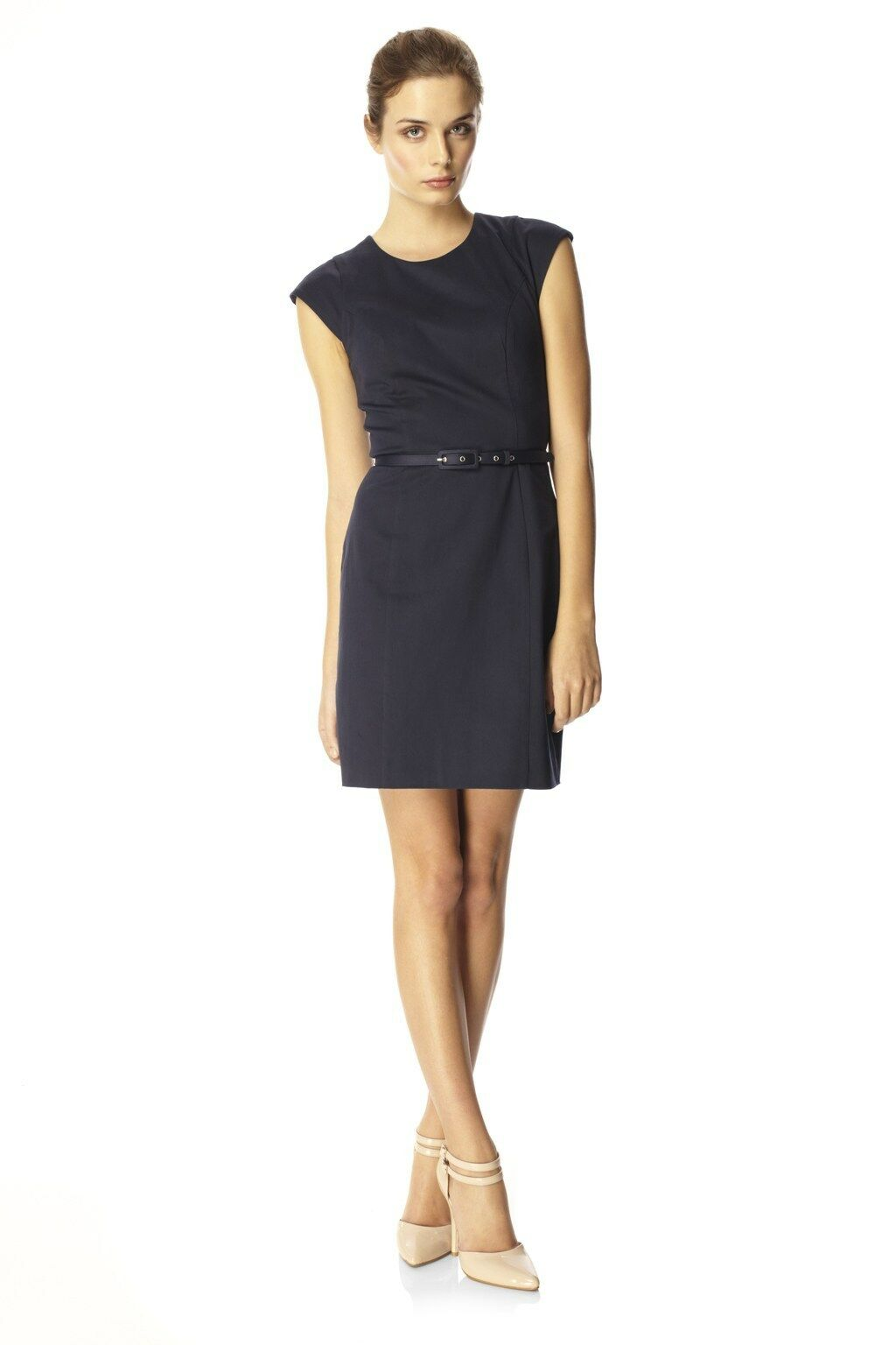 BNWT FCUK French Connection @ ASOS Navy bluee Ten to Ten Cotton Belted Dress