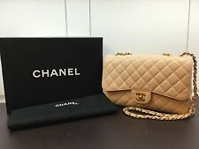 100% Auth Chanel 2.55 Beige Caviar Double Flap Jumbo Bag Rare Gold HW