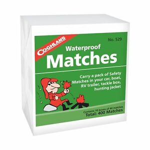 Coghlan-039-s-Waterproof-Matches-400-Count-Wooden-Fire-Starters-10-Boxes-w-Strikers