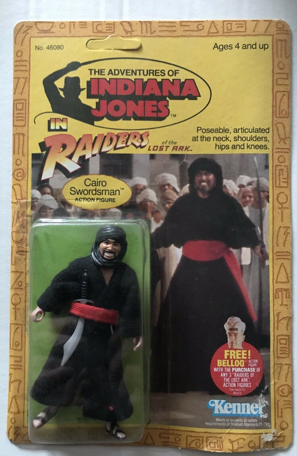 Indiana Jones Action Figure of CAIRO SWORDSMAN with Sword, Dagger 3.75  Tall