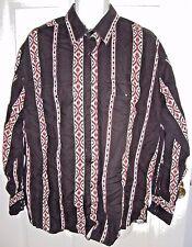 Wrangler Western Shirt XXL 2XL Black Southwestern Pearl Snaps Long Sleeves