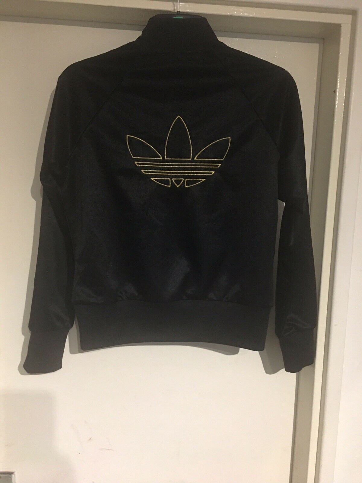 ADIDAS Black Polyester Gold Embroidery Zip Front Track Jacket Women's Girls