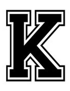 Varsity College Lettering Letter K Car Tablet Vinyl Decal