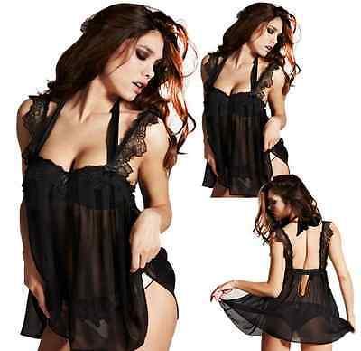 Women Sexy Lingerie Lace Dress Underwear Babydoll Sheer Sleepwear G-string hs8
