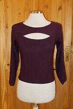 BODY CLOTHING purple plum stretch burgundy peephole 3/4 sleeve tunic top 8-10-12